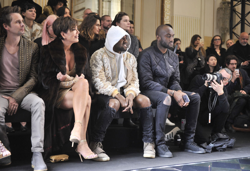 kris Jenner, kanye West, Virgil Abloh at the Paris Fashion week