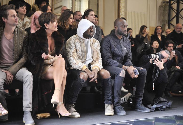 kris Jenner, kanye West, Virgil Abloh at the Paris Fashion week